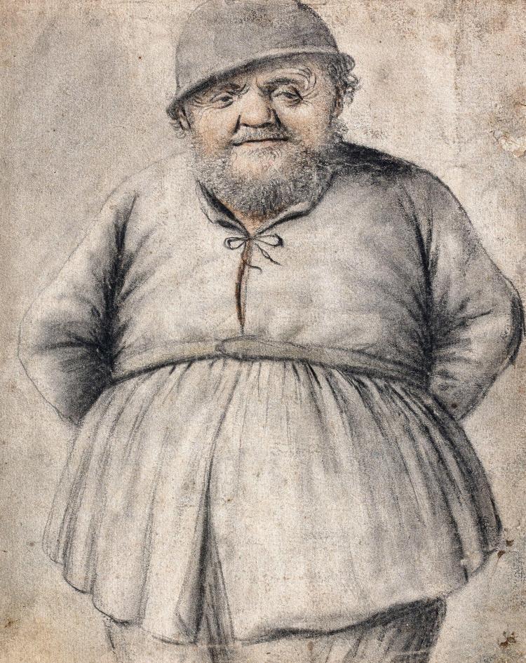 Nicolas Lagneau vers 1590 - vers 1660 Paysan debout Crayon noir, estompe et sanguine