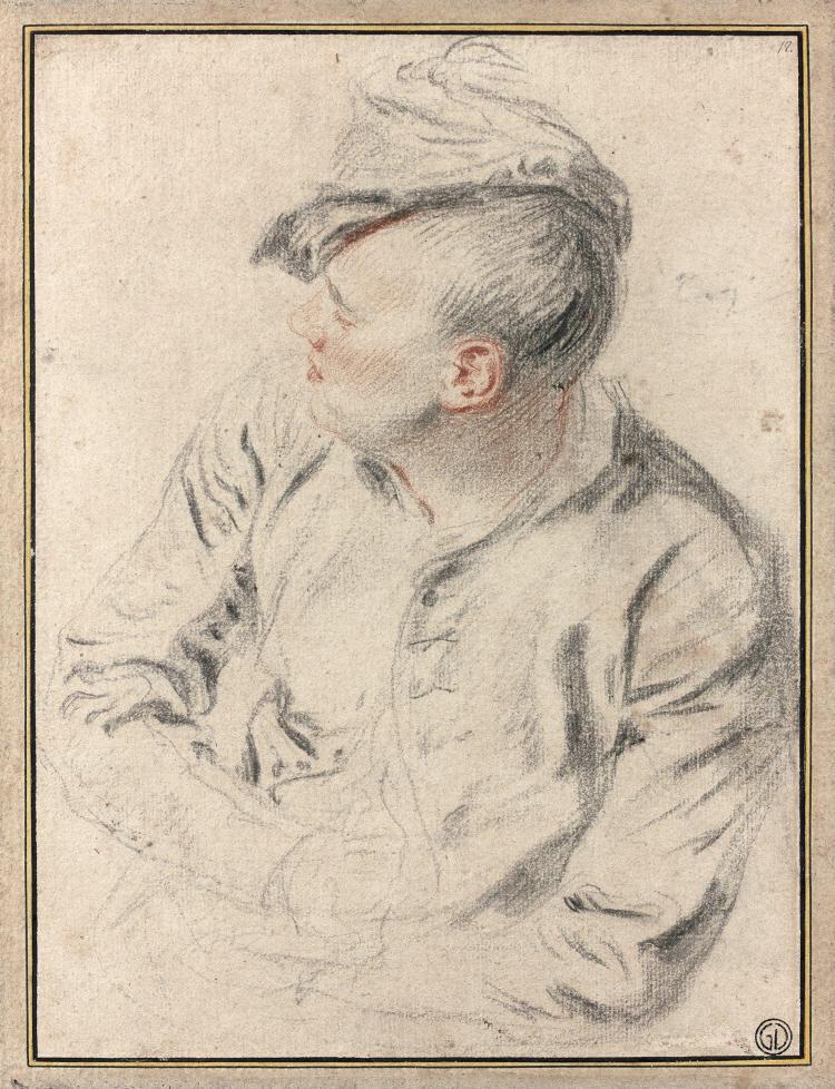 Jean-Antoine Watteau Valenciennes, 1684 - Nogent-sur-Marne, 1721 Homme de profil coiffé d'un bonnet Crayon noir, estompe et sanguine