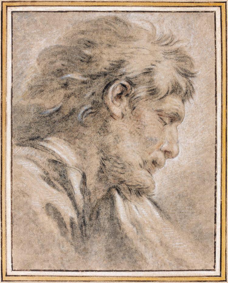 François Boucher Paris, 1703 - 1770 Tête d'homme de profil Trois crayons
