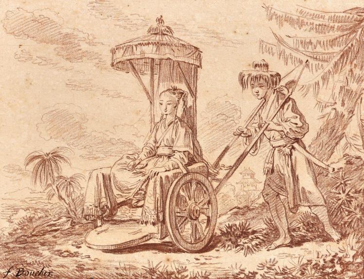 François Boucher Paris, 1703 - 1770 Chinoise sur un pousse-pousse Sanguine