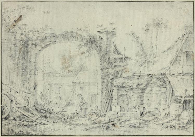 François Boucher Paris, 1703 - 1770 Le repas de la basse-cour Crayon noir, collé en plein sur un montage Glomy