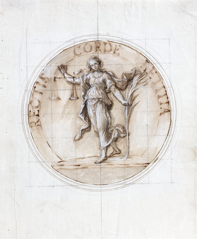 Louis de Boullogne le Jeune Paris, 1654 - 1733 Allégorie de la Justice, projet de médaille Plume et encre brune, lavis brun et rehau...