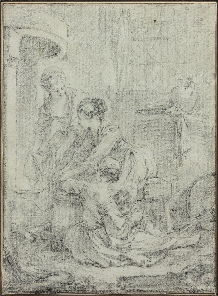 François Boucher Paris, 1703 - 1770 Les crêpes Crayon noir, trait d'encadrement à la plume et encre brune