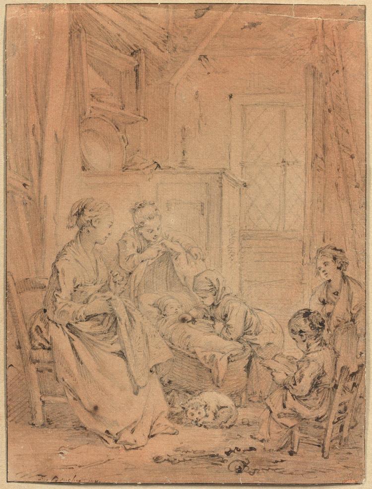 François Boucher Paris, 1703 - 1770 Femme et enfants dans un intérieur rustique Crayon noir, plume et encre brune, lavis de sanguine