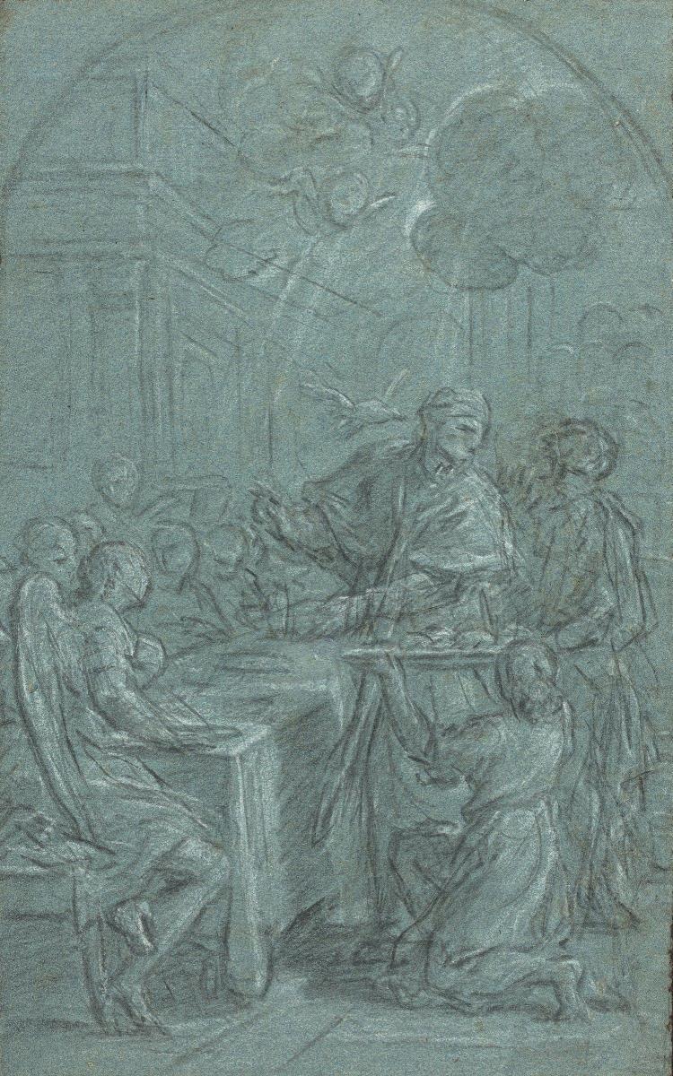 Louis de Boullogne le Jeune Paris, 1654 - 1733 Scène de l''histoire religieuse : l''apparition de l''Esprit Saint à un saint (Grégoire.