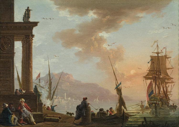 Charles-François Lacroix dit Lacroix de Marseille Marseille, vers 1700 - Berlin, vers 1779 Marchands orientaux dans un port méditerr...