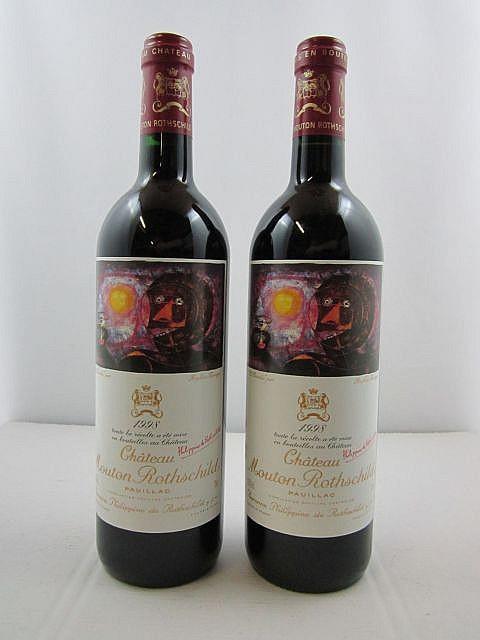 2 bouteilles CHÂTEAU MOUTON ROTHSCHILD 1998 1er GC Pauillac