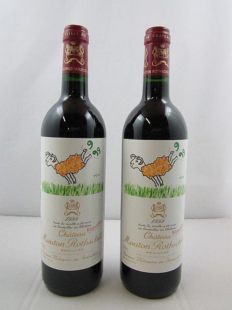 2 bouteilles CHÂTEAU MOUTON ROTHSCHILD 1999 1er GC Pauillac