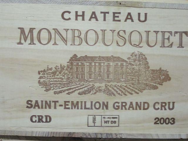 12 bouteilles CHÂTEAU MONBOUSQUET 2003 GCC Saint Emilion Caisse bois d'origine