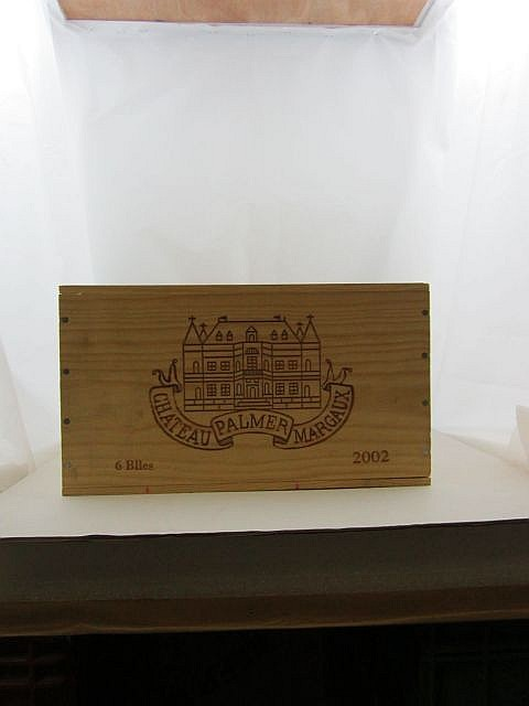 6 bouteilles CHÂTEAU PALMER 2002 3è GC Margaux Caisse bois d'origine