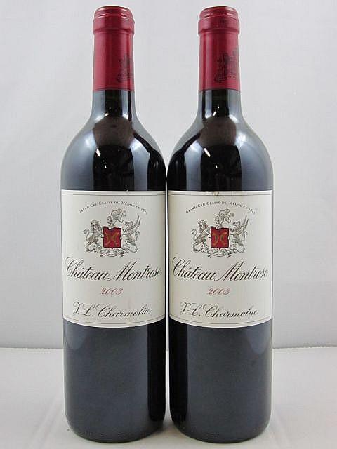 2 bouteilles CHÂTEAU MONTROSE 2003 2è GC Saint Estèphe (étiquettes léger abimées)