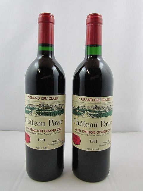 2 bouteilles CHÂTEAU PAVIE 1991 1er GCC (A) Saint Emilion