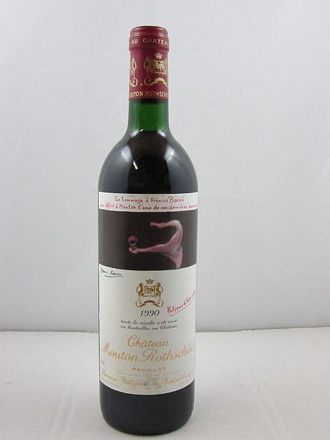 1 bouteille CHÂTEAU MOUTON ROTHSCHILD 1990 1er GC Pauillac (base goulot, étiquette fanée et capsule légèrement abimée sur le dessus)