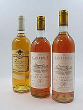 6 bouteilles 3 bts : CHÂTEAU HAUT BERGERON 1986 Sauternes (base goulot)