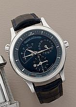 JAEGER-LECOULTRE GÉOGRAPHIQUE, réf. 142.6.92, n° 27/250, vers 1999 Rare montre bracelet en platine (950). Boîtier rond, fond à c...