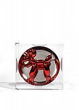 Jeff KOONS Né en 1955 RED BALLOON DOG - 1995 Assiette en porcelaine métallisée dans une boîte en plexiglas