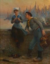Alfred Guillou Concarneau, 1844 - 1926 La galante conversation du marin Huile sur toile
