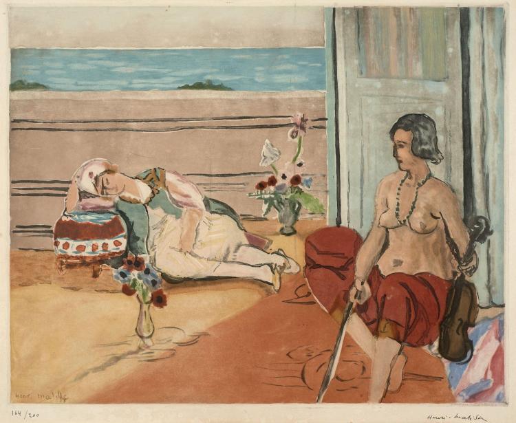 Jacques VILLON 1875- 1963 Odalisque sur la terasse (d'après Henri Matisse) - 1922 Aquatinte en couleurs signée par Henri Matisse et...