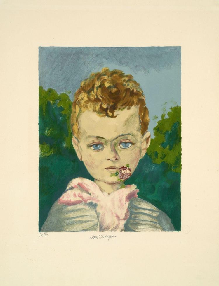 Kees VAN DONGEN (1877 - 1968) Jean-Marie, une fleur à la bouche - circa 1950
