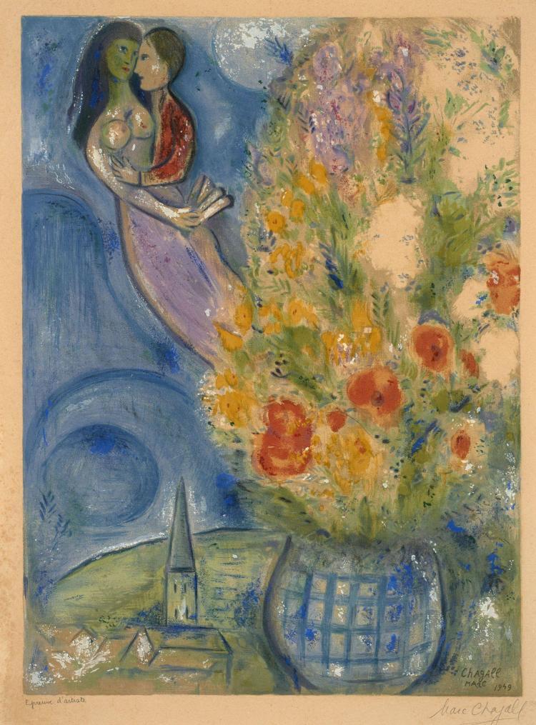 d'après Marc CHAGALL (1887 - 1985) Les coquelicots - 1949