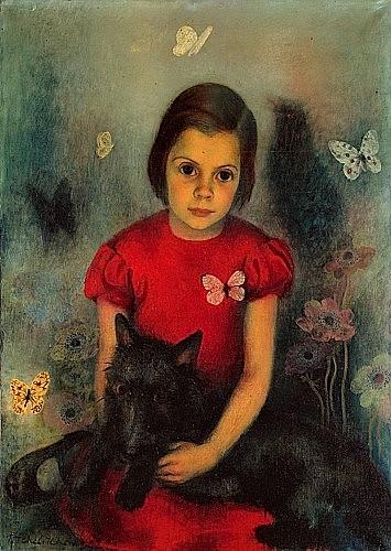 Pavel TCHELITCHEW (1898-1957) LA PETITE FILLE AUX PAPILLONS, 1934 Huile sur toile