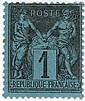 France anciens - Type Sage, n° 84, 1c. noir sur bleu de Prusse, neuf. Charnière. Cote Yvert & Tellier 15.000 €. Signé.