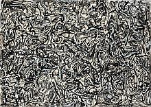 Antonio SAURA (1930-1998) TENTATION DE SAINT-ANTOINE, 1963 Acrylique et encre sur photographies noir et blanc