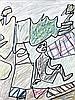 Jean DUBUFFET (Le Havre, 1901- Paris, 1985) PAYSAGE A L'HOMME ASSIS DANS L'HERBE, 9 septembre 1974 Dessin au feutre noir, pastels gr.