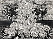 Robert MALAVAL (1937-1980) CHEMINEE, 16/12/1964 Encre de Chine sur papier