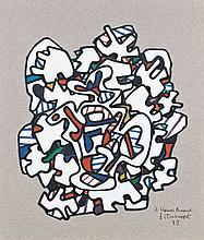 Jean DUBUFFET -1e Havre, 1901- Paris, 1985) TIMBRE A LA THEIERE, 21 novembre 1973 Dessin au marker de couleurs, découpé et collé sur...