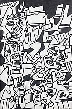 Jean DUBUFFET (Le Havre, 1901- Paris, 1985) LE MOMENT CRITIQUE (SITE AVEC DEUX PERSONNAGES), 9 avril 1974 Dessin au marker noir avec...