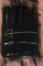 Jean DEGOTTEX (1918-1988) SUITE ROSE-NOIR (XII), 7.8.64 Huile sur carte marouflée sur toile