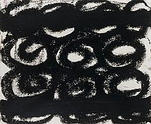 Jannis KOUNELLIS (né en 1936) SANS TITRE, 1998 Peinture goudronnée sur papier
