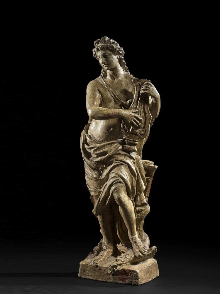 Ecole française ou allemande du XVIIIe siècle Apollon à la lyre Terre cuite patinée