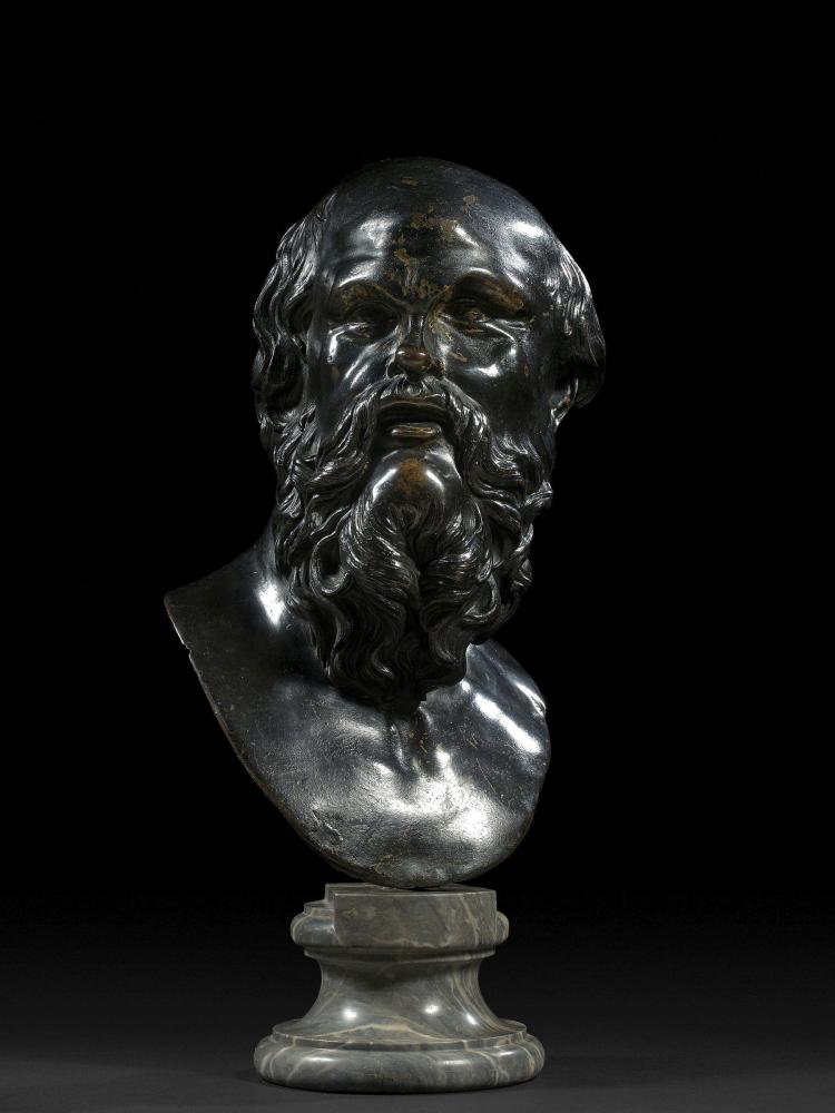 Ecole italienne de la seconde moitié du XVIIe siècle Buste de Socrate Bronze à patine brune