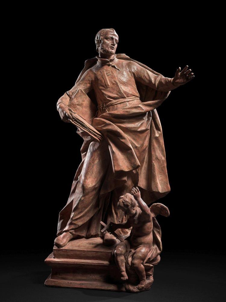 Pietro Pacilli Rome, 1720 - 1773 Saint Camille de Lellis Esquisse en terre cuite