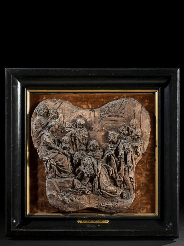 Atrtribué à Lucas Faydherbe Malines, 1617 - 1697 L'Adoration des Mages Bas-relief en terre cuite