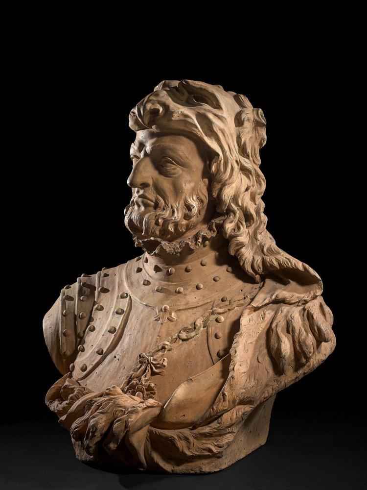 Ecole italienne du XVIIIe siècle D''après un modèle de la seconde moitié du XVIe siècle Buste de condottiere en Hercule Terre cuite