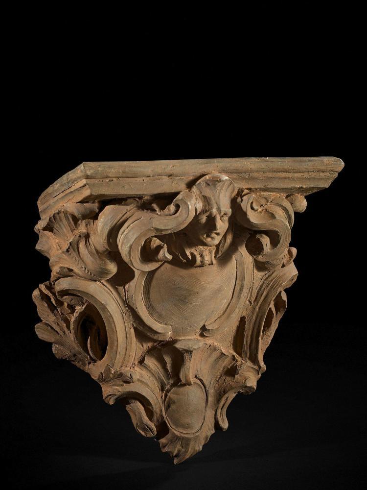 Laurent Delvaux Gand, 1696 - Nivelles, 1778 Projet pour une console d''applique Esquisse en terre cuite originale