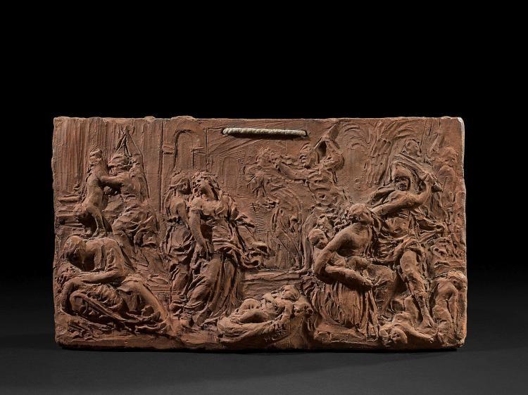 Attribué à Jacques Bergé Bruxelles, 1693 - 1756 Le massacre des Innocents Bas-relief en terre cuite avec mise au carreau