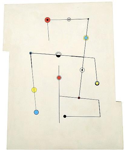 Carmelo ARDEN-QUIN (1913-2010) LIGNES ET POINTS, 1950 Huile sur panneau de bois peint