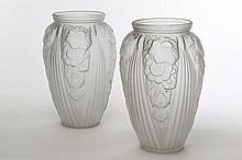 MULLER FRÈRES LUNÉVILLE  Deux vases ovoïdes