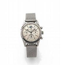 UNIVERSAL GENEVE TRI COMPAX, vers 1960 Chronographe bracelet en acier. Boîtier rond, fond vissé. Cadran argent avec 3 compteurs,...