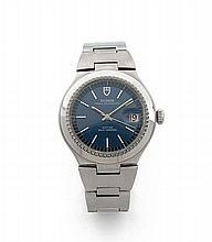 TUDOR PRINCE OYSTER DATE, vers 1970 Belle montre bracelet en acier. Boîtier rond. Couronne et fond vissés. Cadran bleu avec date...