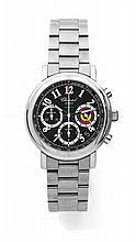 CHOPARD EAGLE SKI CLUB GSTAAD, vers 2000 Chronographe bracelet en acier. Boîtier rond, fond saphir. Cadran noir avec 3 compteurs...