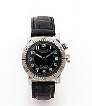 LONGINES WEEMS, vers 2000 Montre bracelet en acier. Boîtier rond, fond saphir. Lunette tournante en acier. Cadran noir avec chif...