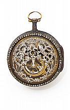 GUDIN à PARIS Rare montre à coq squelette en laiton, bélière en or Boîtier rond, cadran émail blanc avec chiffres romains peints...