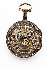 ANONYME Rare montre à coq squelette en or. Boîtier rond, cadran émail blanc avec chiffres romains peints. Au verso, dos squelette...