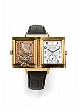 JAEGER-LECOULTRE  REVERSO TOURBILLON n° 165 / 500 vers 1993 Magnifique montre bracelet reversible en or rose; Boîtier rectangle....