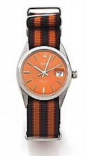 ROLEX OYSTER DATE PRECISION réf: 6694 vers 1969 Montre bracelet en acier. Boîtier rond, couronne et fond vissés. Cadran orange f...